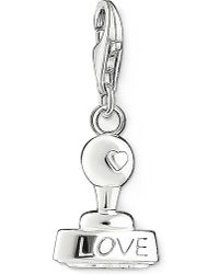 Thomas Sabo - Metallic Charm Club Silver And Zirconia Love Stamp Pendant - Lyst