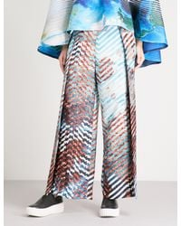 Issey Miyake - Blue Chevron-detail Landscape-print Pleated Trousers - Lyst