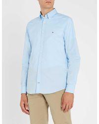 Tommy Hilfiger Blue Slim-fit Stretch-cotton Shirt for men
