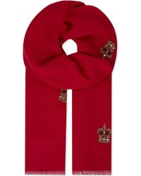 Janavi Red Crown And Crest Cashmere Scarf