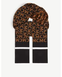 MCM Black Logo-embroidered Wool-knit Scarf for men