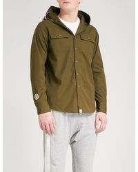 89db8c05aa75 Lyst - A Bathing Ape Appliquéd Cotton Hooded Shirt in Green for Men