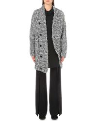 Ann Demeulemeester | Gray Cable Knit Silk-blend Cardigan | Lyst