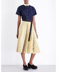 Sacai - Blue Pleated Poplin And Metallic Shirt Dress - Lyst