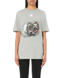Givenchy - Gray Monkey-print Cotton-jersey T-shirt - Lyst