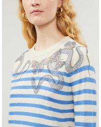 Zadig & Voltaire Blue Graphic-print Cashmere Jumper