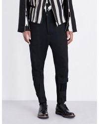 Ann Demeulemeester | Blue Panelled Cotton And Linen-blend Trousers for Men | Lyst