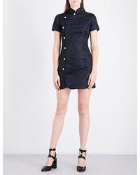 ALEXACHUNG   Blue Mandarin Collar Brocade Mini Dress   Lyst