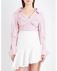 Jacquemus | Multicolor Beauduc Ruched Cotton-poplin Shirt | Lyst