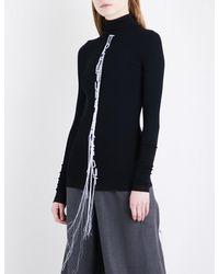 Moohong | Black Text-embroidered Turtleneck Cotton Jumper | Lyst