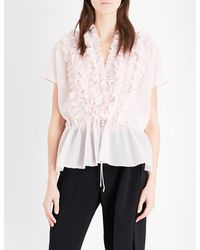 Givenchy Pink Ruffled Cotton And Silk-blend Top