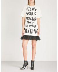 Moschino White Tutu Cotton T-shirt Dress