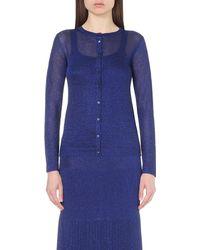 Missoni - Blue Metallic Knitted Cardigan - Lyst