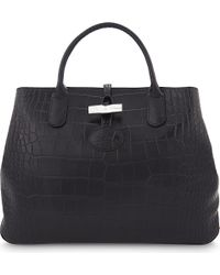 Longchamp   Black Roseau Medium Leather Tote   Lyst