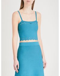 Sandro Blue Cutout Knitted Top