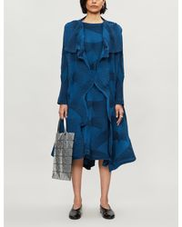 Issey Miyake Blue Striped Pleated Woven Jacket
