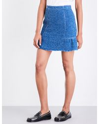 Sandro Blue Peplum Tweed Skirt