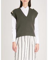 Claudie Pierlot Green Sleeveless V-neck Knitted Top