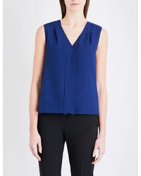 French Connection - Blue Polly Plains Crepe And Jersey Top - Lyst