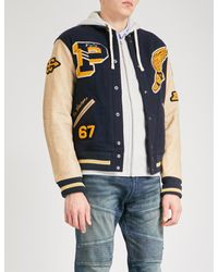 Polo Ralph Lauren Blue Patch-embroidered Wool And Leather Bomber Jacket for men