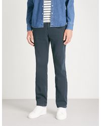 7 For All Mankind Blue Slimmy Chino Slim-fit Cotton-blend Chinos for men
