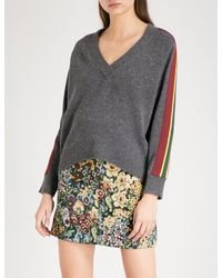 Sandro Gray Contrasting-stripe Sleeves Wool Jumper