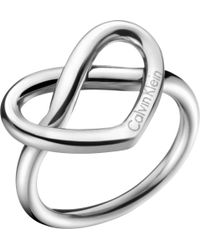 Calvin Klein - Metallic Charming Stainless Steel Knotted Heart Ring - Lyst