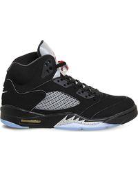 Nike | Black Air Jordan 5 Retro Leather Trainers for Men | Lyst