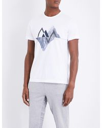 BOSS Green White Mountain-print Cotton-jersey T-shirt for men