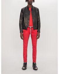 Off-White c/o Virgil Abloh Red Arrow-print Leather Biker Jacket for men