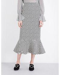Saloni | Multicolor Portia Polka Dot-print Stretch-crepe Midi Skirt | Lyst