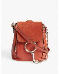 Chloé Red Faye Mini Suede Backpack