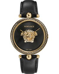 Versace Black Palazzo Empire Yellow-gold And Leather Watch