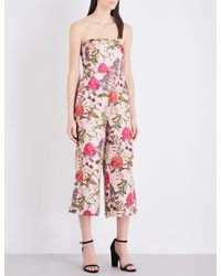 Whistles Red Hydrangea Tie-back Silk-twill Jumpsuit