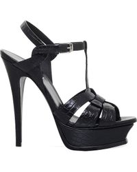 Saint Laurent | Black Tribute 105 Crocodile-embossed Leather Platform Sandals | Lyst