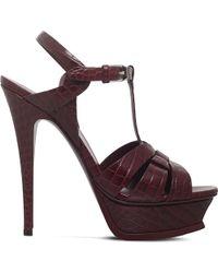 Saint Laurent Multicolor Tribute 105 Crocodile-embossed Leather Platform Sandals