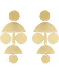 Annie Costello Brown Metallic Mini Pom Pom Hammered Gold-plated Earrings