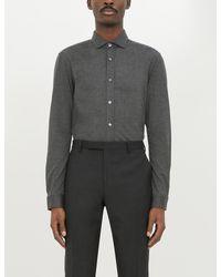 BOSS Gray Slim-fit Melange-jersey Shirt for men