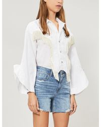 PAIGE Blue Sarah Faded Ripped Stretch-denim Shorts