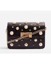 TOPSHOP Black Ruby Faux-pearl Studded Cross-body Bag