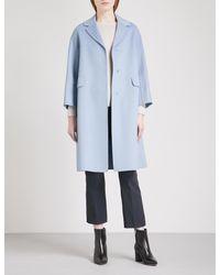 Max Mara Blue Grolla Virgin Wool Coat