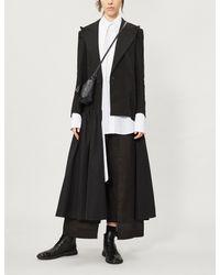 Yohji Yamamoto Black Asymmetric Linen And Silk And Linen-blend Coat