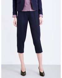 TOPSHOP Blue Unique Cropped Wool Trousers