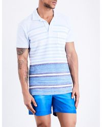 Orlebar Brown Blue Striped Cotton-towelling Polo Shirt for men