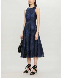 Ted Baker Blue Wylieh Sleeveless Floral Jacquard-pattern Satin Midi Dress