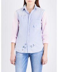 NSF Blue Axel Colour-block Distressed Denim Shirt