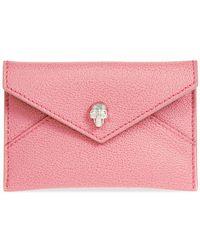 Alexander McQueen Pink Skull Leather Envelope Card Holder