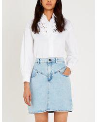 Sandro White Lace-detail Cotton-poplin Shirt
