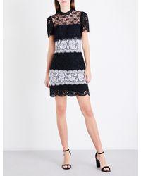 Sandro Black High-neck Floral-lace Dress