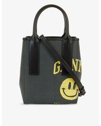 Ganni Black Branded Leather Tote Bag